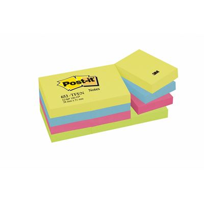 3M 653-TFEN POST-IT ENERJİK RENKLER 38x51 mm 12 Lİ